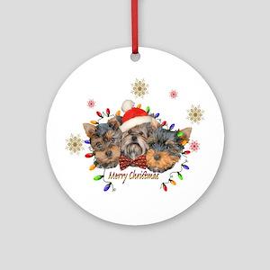 Yorkie Christmas Round Ornament