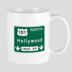 Hollywood, CA Road Sign, USA Mug
