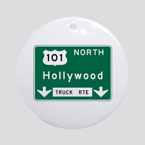 Hollywood, CA Road Sign, USA Round Ornament
