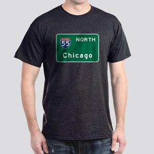 Chicago, IL Road Sign, USA Dark T-Shirt