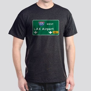 LAX Airport, Los Angeles, CA Road Sig Dark T-Shirt