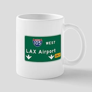 LAX Airport, Los Angeles, CA Road Sign, Mug