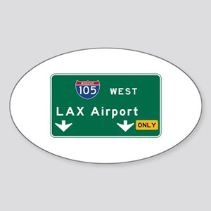 LAX Airport, Los Angeles, CA Road S Sticker (Oval)