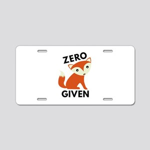 Zero Fox Given Aluminum License Plate