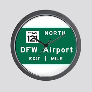 DFW Airport, Dallas-Fort Worth, TX Road Wall Clock