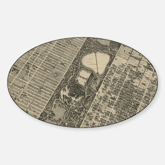 Cute Central park new york Sticker (Oval)