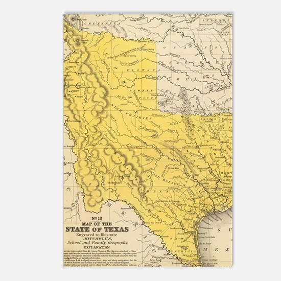 Texas map Postcards (Package of 8)
