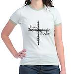 Jesus Rocks Christian Jr. Ringer T-shirt