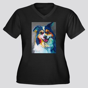 Maggie the Border Collie, Aussie Plus Size T-Shirt