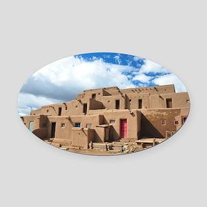 Taos Pueblo Oval Car Magnet