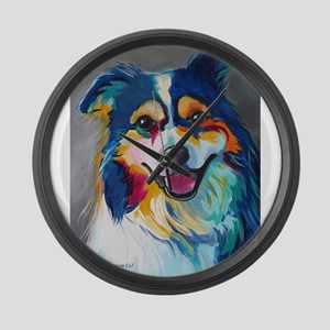 Maggie the Border Collie, Aussie, Large Wall Clock