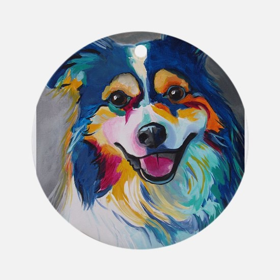 Maggie the Border Collie, Aussie, A Round Ornament