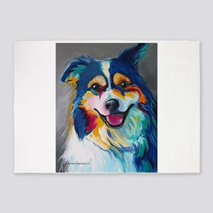 Maggie the Border Collie, Aussie, A 5'x7'Area Rug