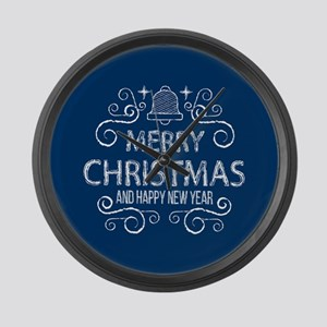 Merry Christmas Hand Drawn -Navy Large Wall Clock