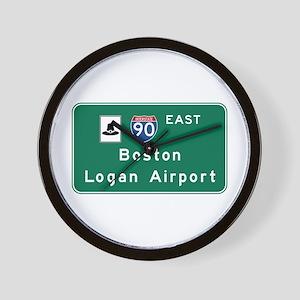 Boston Logan Airport, MA Road Sign, USA Wall Clock