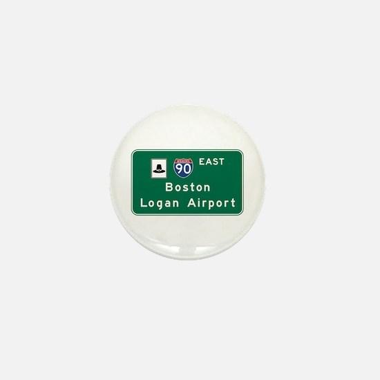 Boston Logan Airport, MA Road Sign, US Mini Button