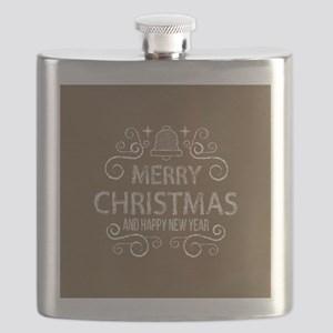 Merry Christmas Hand Drawn - Brown and White Flask