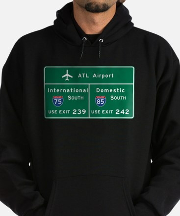 Atlanta Airport, GA Road Sign, USA Hoodie (dark)