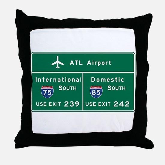 Atlanta Airport, GA Road Sign, USA Throw Pillow