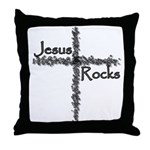 Jesus Rocks Christian Throw Pillow