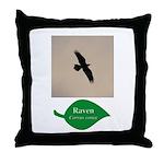 Flying Raven Throw Pillow