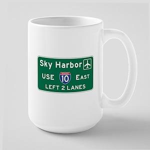 Sky Harbor, Phoenix Airport, AZ Road Si Large Mug