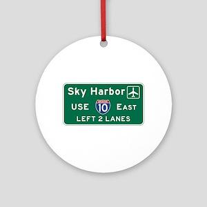 Sky Harbor, Phoenix Airport, AZ Roa Round Ornament