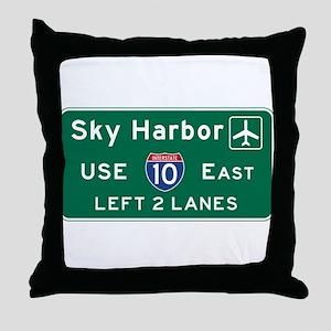 Sky Harbor, Phoenix Airport, AZ Road Throw Pillow
