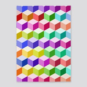 Cube Ptn Multicolored 5'x7'area Rug