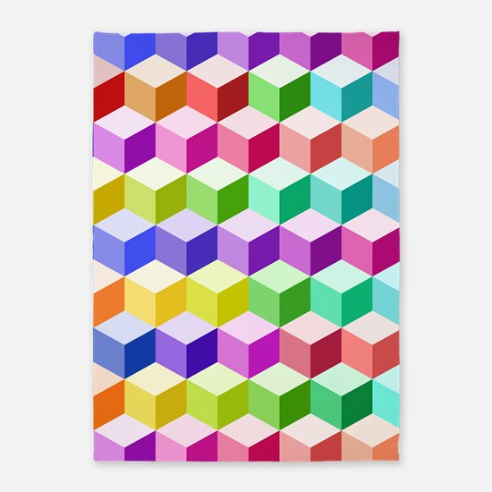 Cube Ptn Multicolored 5'x7'area Rug