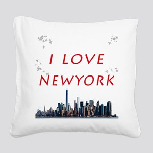 I Love Newyork Square Canvas Pillow