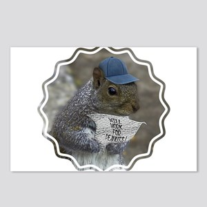 Squirrel will work for pe Postcards (Package of 8)