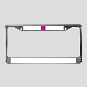 Pink plaid with skulls License Plate Frame