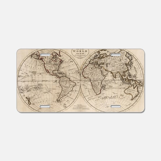 Funny Antique world map Aluminum License Plate