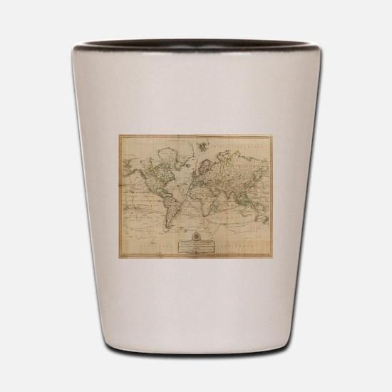 Cute Antique world map Shot Glass