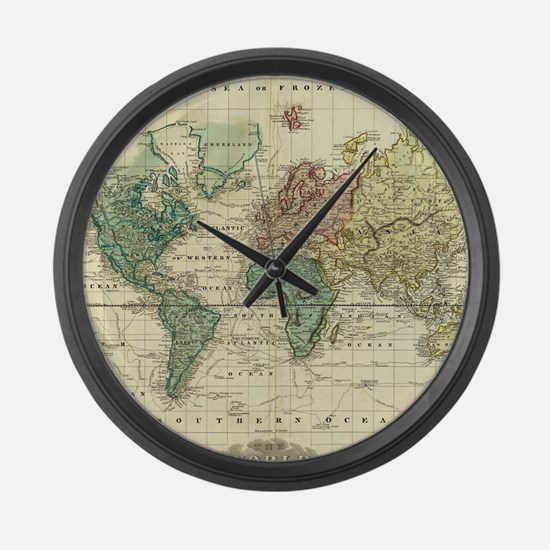 Funny Old world map Large Wall Clock