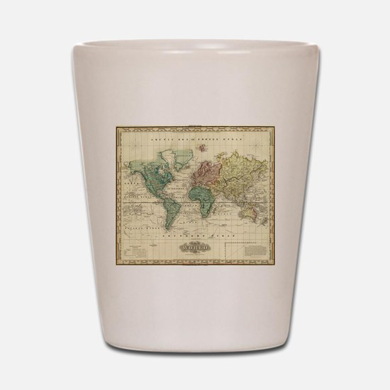 Antique world map Shot Glass