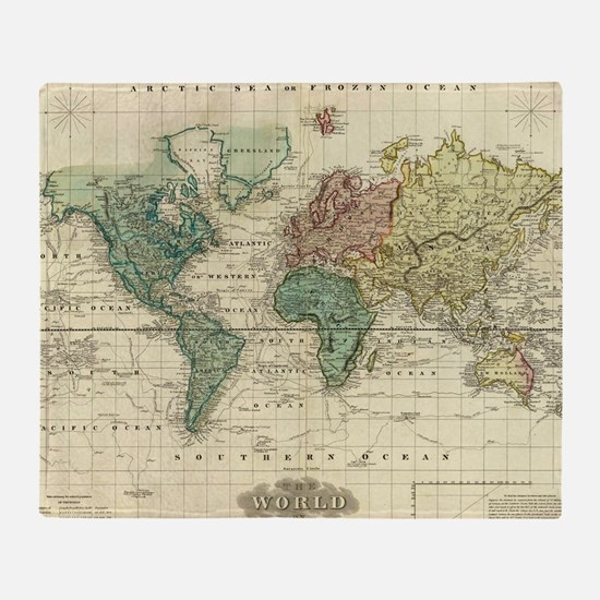 Cool Vintage world map Throw Blanket