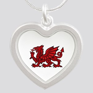 Red Welsh Dragon Silver Heart Necklace