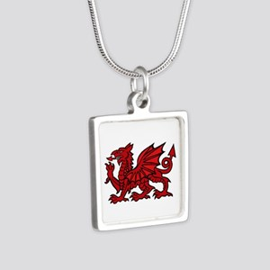 Red Welsh Dragon Silver Square Necklace