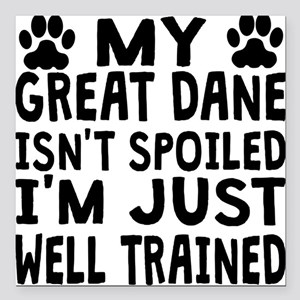 "My Great Dane Isnt Spoiled Square Car Magnet 3"" x"