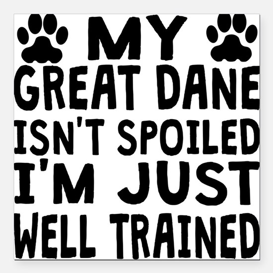 """My Great Dane Isnt Spoiled Square Car Magnet 3"""" x"""