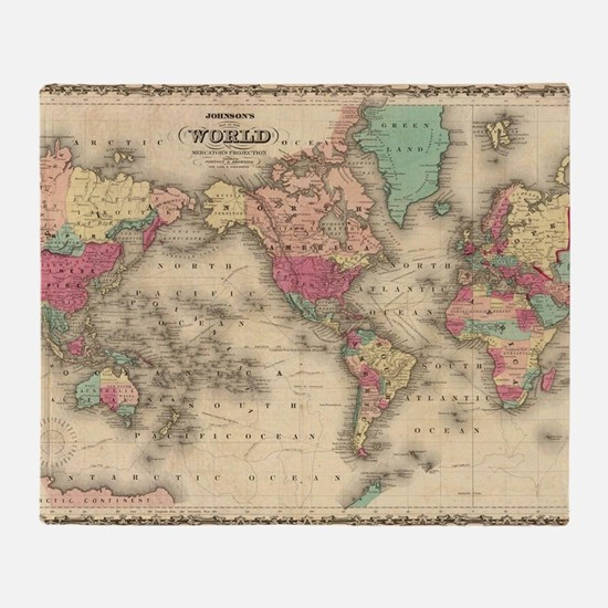Cute Vintage world map Throw Blanket