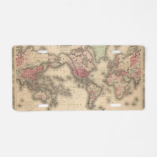 Unique Antique world map Aluminum License Plate