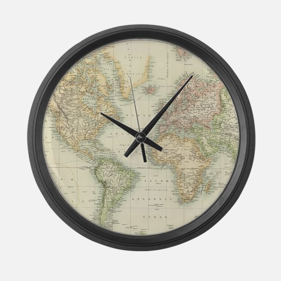Cute Old world map Large Wall Clock