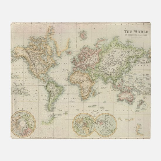 Vintage world map Throw Blanket