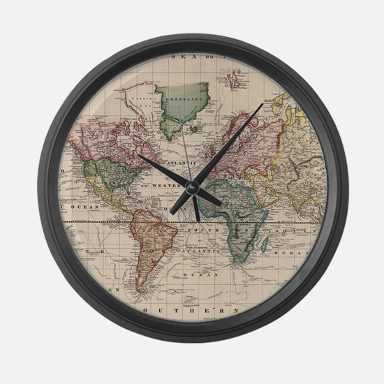 Old world map Large Wall Clock