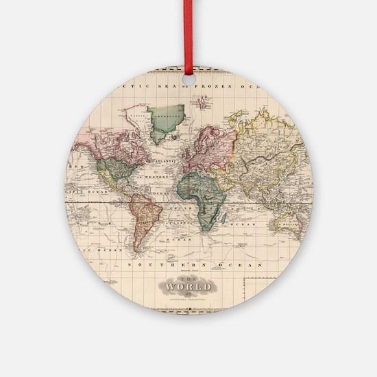 World map Round Ornament