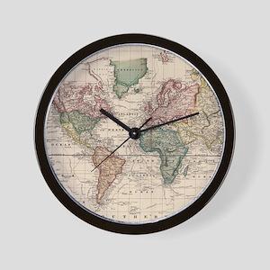 Antique world map wall clocks cafepress wall clock gumiabroncs Images