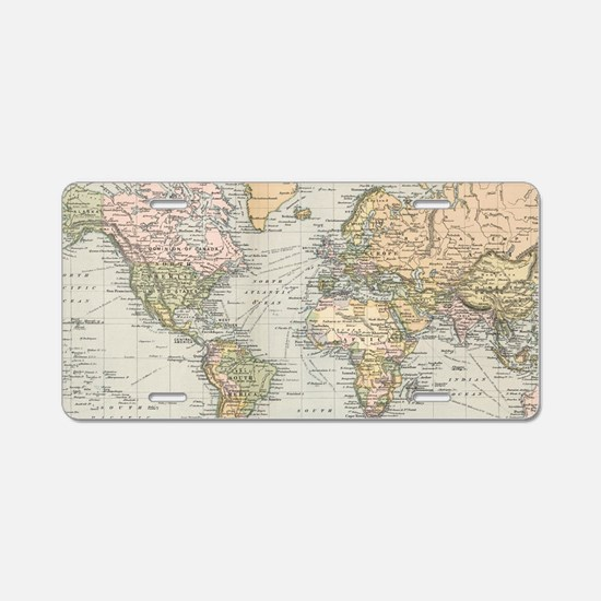 Antique world map Aluminum License Plate